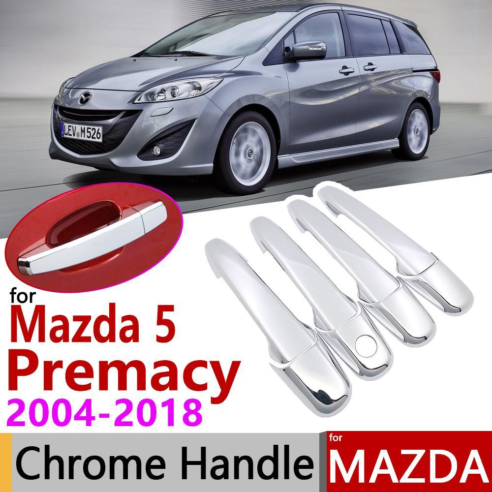 Mazda 5 Premacy 2004 ~ 2018 크롬 도어 핸들 커버 자동차 액세서리 스티커 트림 4door 2005 2008 2011 2015 2015 2015