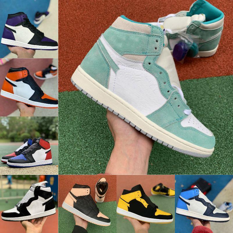 بيع 2021 جديد 1 1 ثانية كرة السلة أحذية الرجال النساء bed تو الأسود الأخضر لعبة الملكي unc براءات الاختراع الأرجواني حطام شظية محظورة تطور الأحذية الرياضية