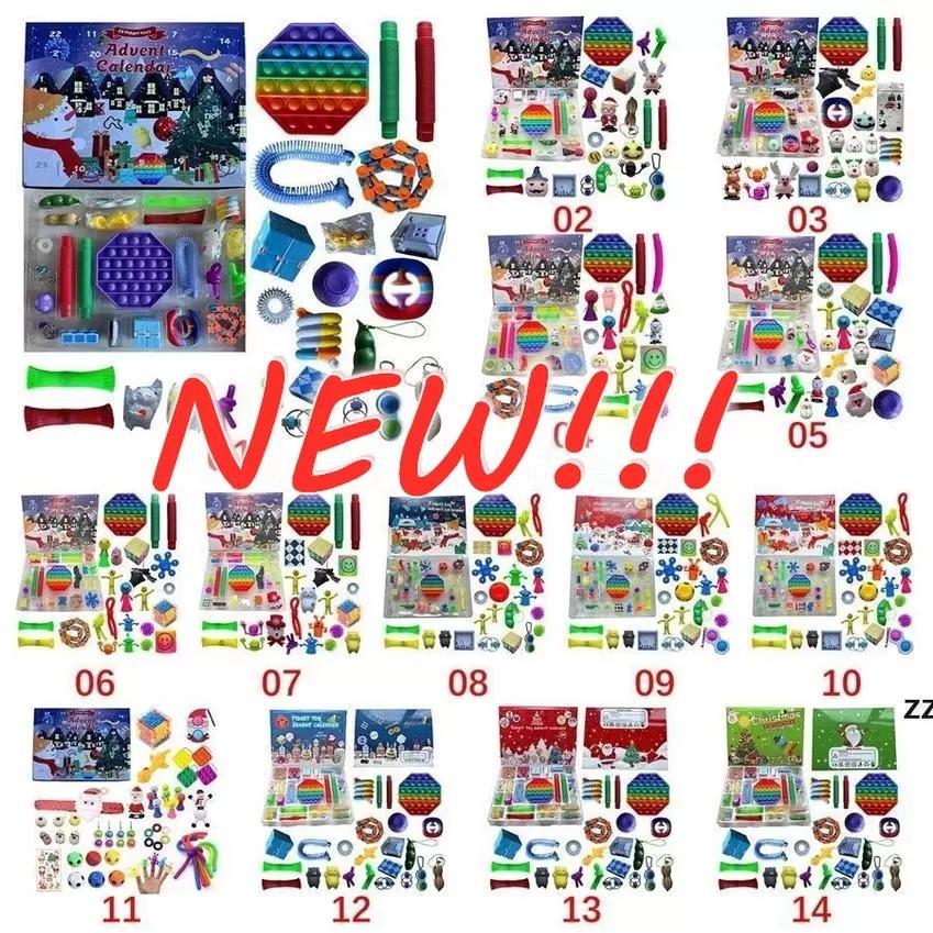 Tiktok Christmas Fidget giocattolo Avvento Calendario del calendario del Dicembre 24 giorni Push Bubble 24pcs / Set Silicone Sfort Reliever Blind Box Toy Sensory Toy all'ingrosso