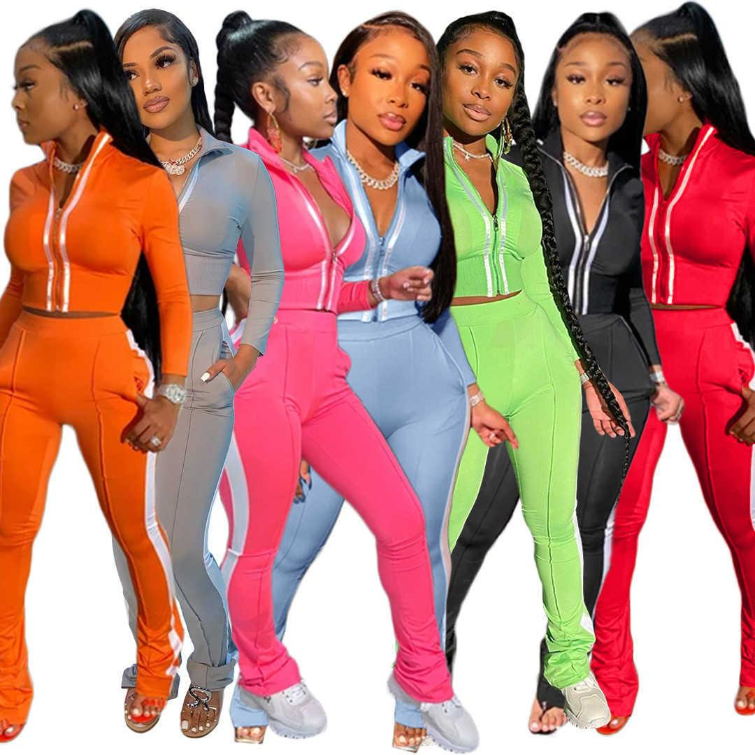Womens Two Piece Set Designer Tracksuit Strip Zipper Jacket Long Sleeve Pleated Pants Outfits Bodycon Sports Jogging Suit 8805