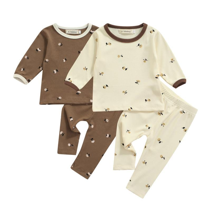 Clothing Sets 2 Pcs Infant Floral Kids Pajama Set Outfits, Baby Girls Casual Long Sleeve Round Neck T-shirt + Trousers 9M-4Y