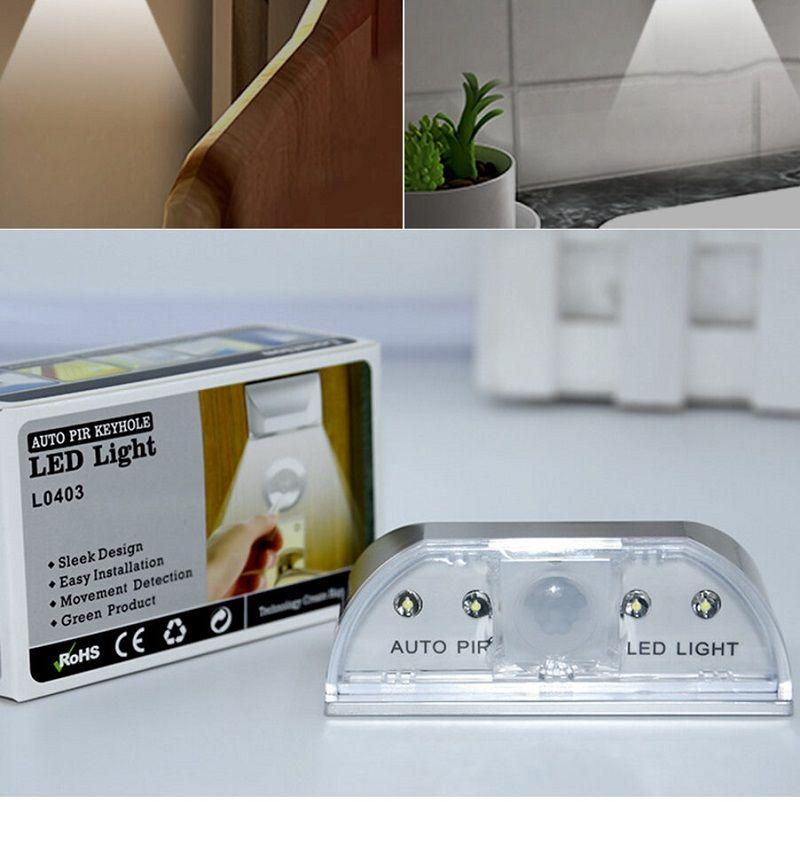 Ev Keyhole Lamba Kızılötesi PIR Kablosuz Hareket Sensörü Kapı Kilit Işık Mutfak Koridoru Merdiven Depo