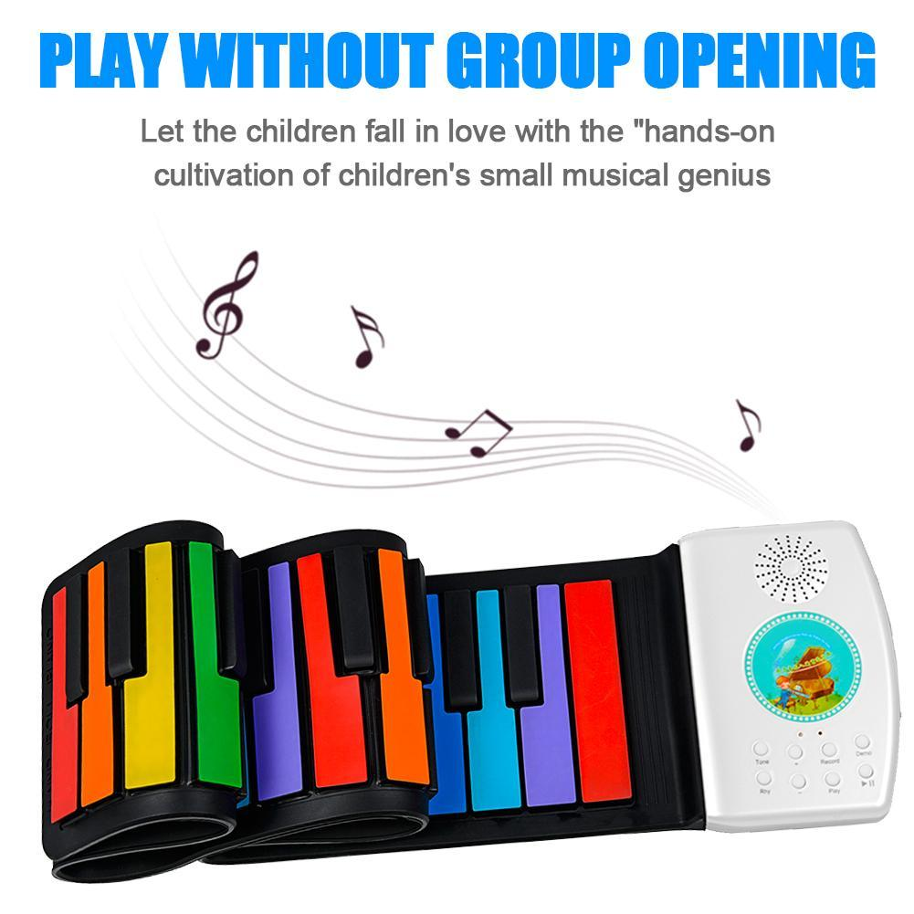 Roll Up Piano 49 Keys Portable Digital Piano Silicone Keyboard Folding Electronic Keyboard For Children Student Gift Rechargable