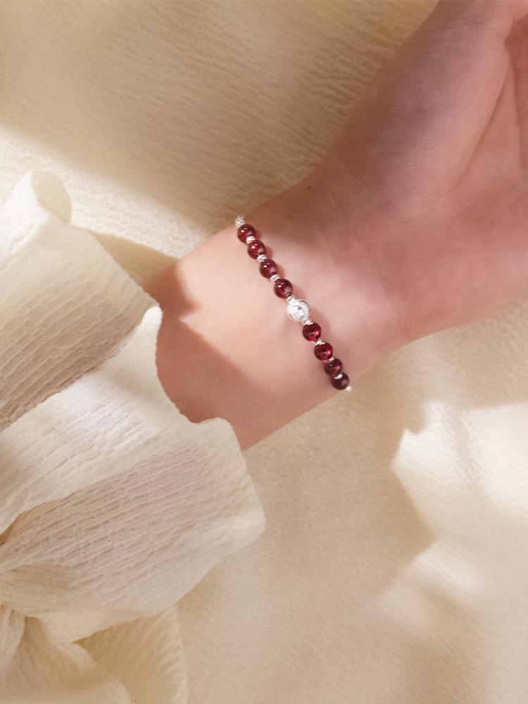 Вино красный гранат арт стиль матовый жемчужный браслет Crystal S925 стерлингового SER для женщин