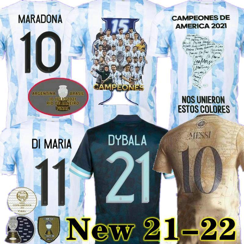 Messi Argentinien Maradona Soccer-Jerseys-Spieler-Version Fans 2021 22 Home Away Kun Agüero di Maria Lo Celso Martinez Correa Football Jersey Shirt Männer Kinder Setzt Uniformen