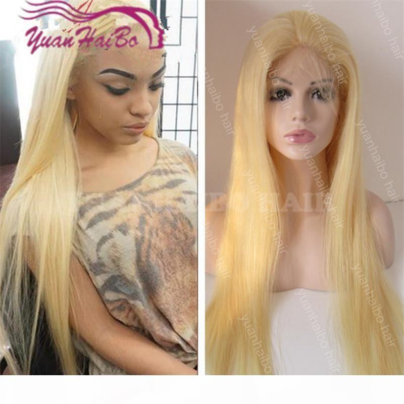 Новая мода 26 дюймов 613 блондинка перуанские волосы шелковистые прямые кружевные фронт человеческие волосы парики бесплатная доставка