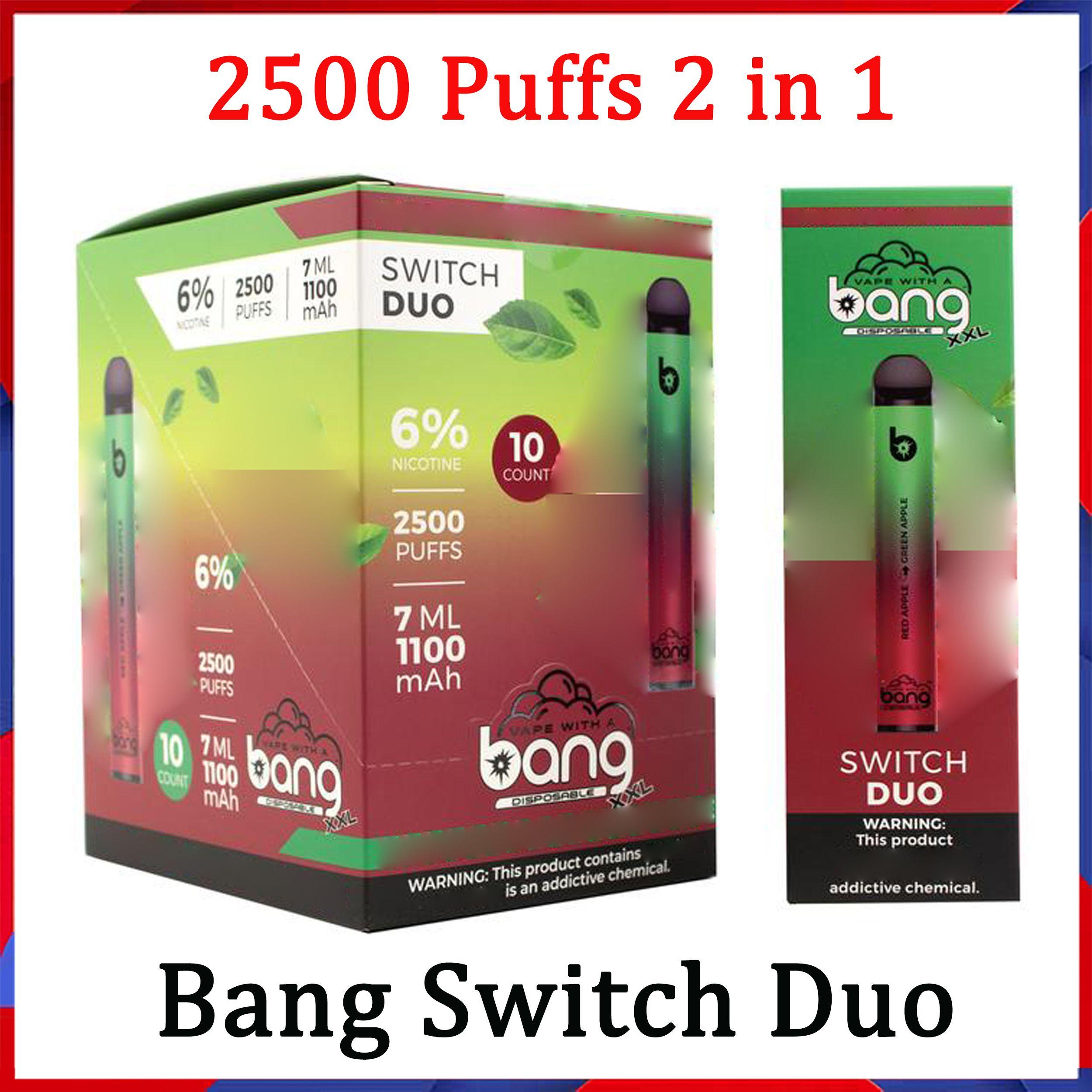 BANG XXL Switch Duo Dispositivo Dispositivo de Pena de Pena POD E Kit de Cigarro 2500 Puffs 7ml 1100mAh 6% PODs de Óleo Vs Flum Flum