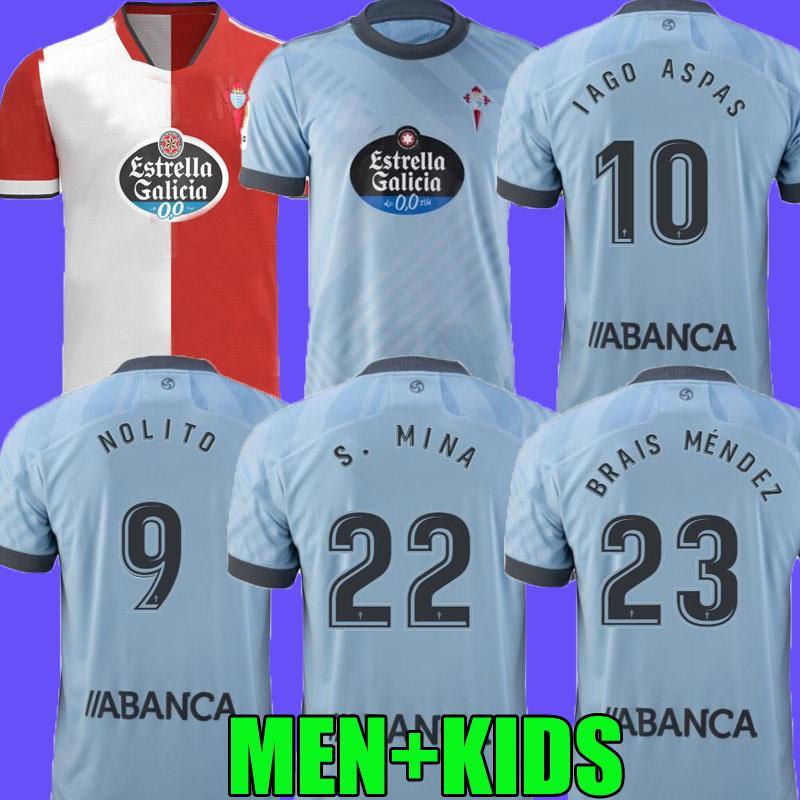 21 22 Celta de Vigo Futebol Jerseys Iago Aspas 2021 2022 Celta Vigo Camiseta de Fútbol Nolito F.Beltran Hugo Mallo Solari S. Mina Brais Méndez Homens Casa Kit Kit Camisa de Futebol