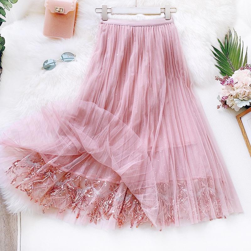 Röcke 2021 Frühling Sommer Frauen Korea Langer Tüll Rock Pailletten plissiert Eine Linie Midi Chic High Taille Rosa Weiblich