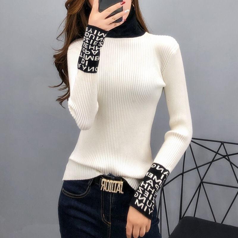 Designers de pulls serrés Vêtements de base Vêtements de base 2020 Femmes à manches longues minces Pulls et pull-overs Tamplaneck Slim Sw1eo7