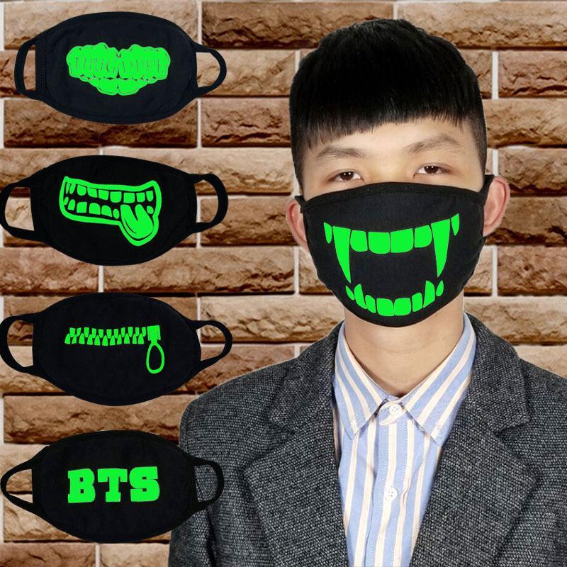 Máscara luminosa de invierno, estilo grueso, cremallera de los dientes de moda, BTS, resistente a prueba de frío lote de algodón negro para hombres y mujeresJ66