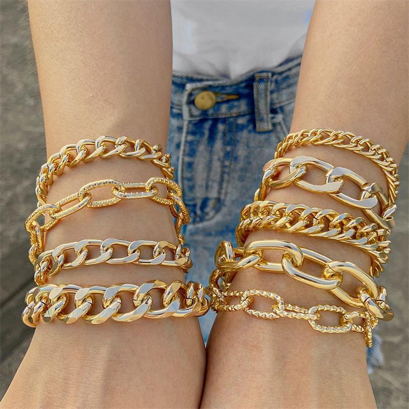 Link, Chain Punk Gold Bracelets Branch Geometric Beads Stacking Bracelet Set Multi Layered 2021 Jewelry