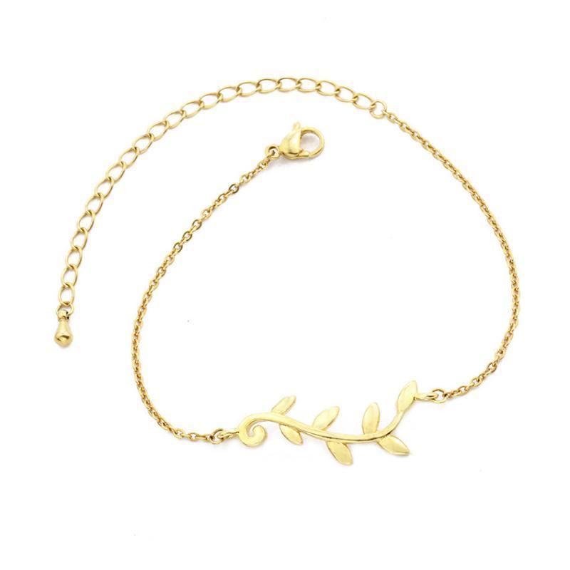 2021 Mode einfache Blätter Aussage Armband für Frauen Mädchen Schmuck Gold Handlink Edelstahl Neujahrsgeschenk