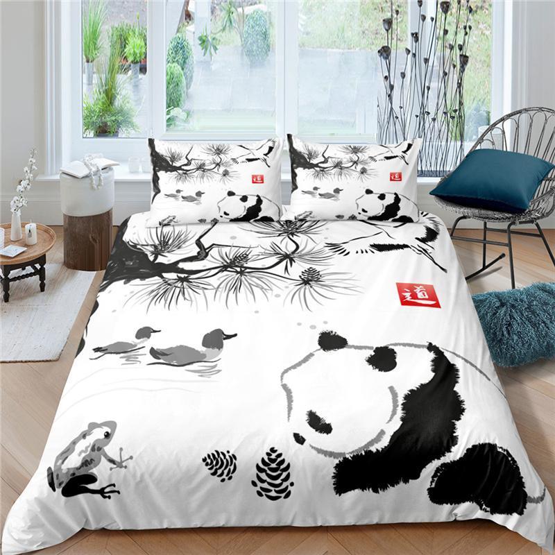 Bettwäsche-Sets Luxus 3D Carto Panda Print 2/3 stücke Kinder Set Komfortables Tier Duvet Cover Kissenbezug Home Textile Queen / King Größe
