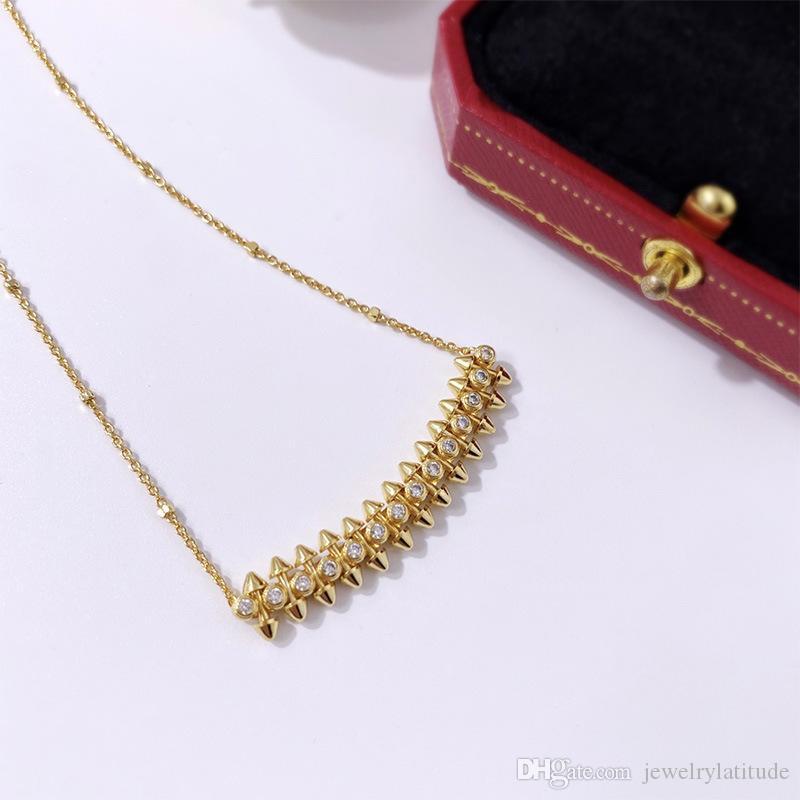 Nuovo stile di lusso designer gioielli donne collana rivetto sorriso pendente collane oro argento coppia accessori alla moda proiettile testa clavicola