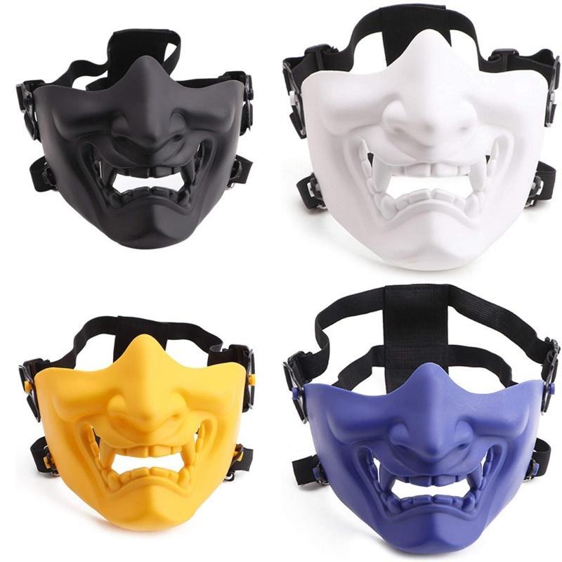 Scary Smiling Smiling Smiling Half Face Masque Forme Réglable (Tactique) Protection de chapeaux Halloween Costumes Costumes Accessoires Cyclisme Masque de visage 18 W2