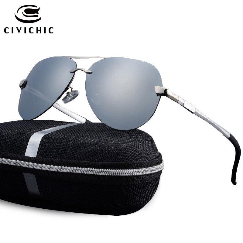 Gafas de sol polarizadas Chic Hombres Rana Espejo Espejo Oculos Al Mg Eyewear Conducción EyeGlasses UV400 Zonnebril Pilot Gafas de Sol Hombre E196 x0125