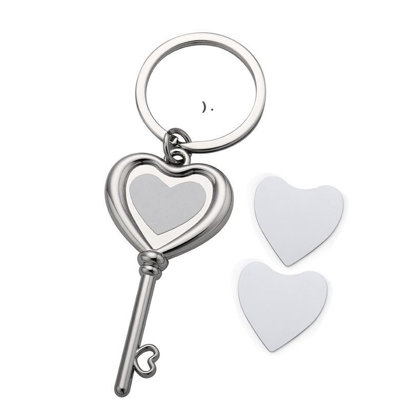 Trial Transfert Coeur Clé Forme Clé Pendentif Bricolage Keychain Sublimation Blanches Métal Keychains Décoratif Keyring BWA8866