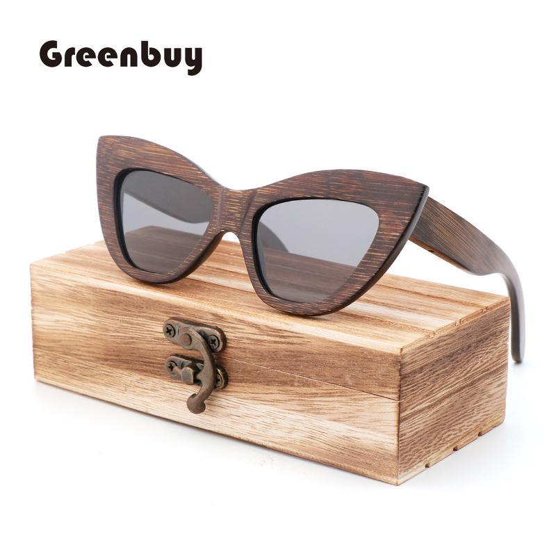 Солнцезащитные очки Brownl Bamboo Женщины Polarized Brown Wood UV400 Feminino