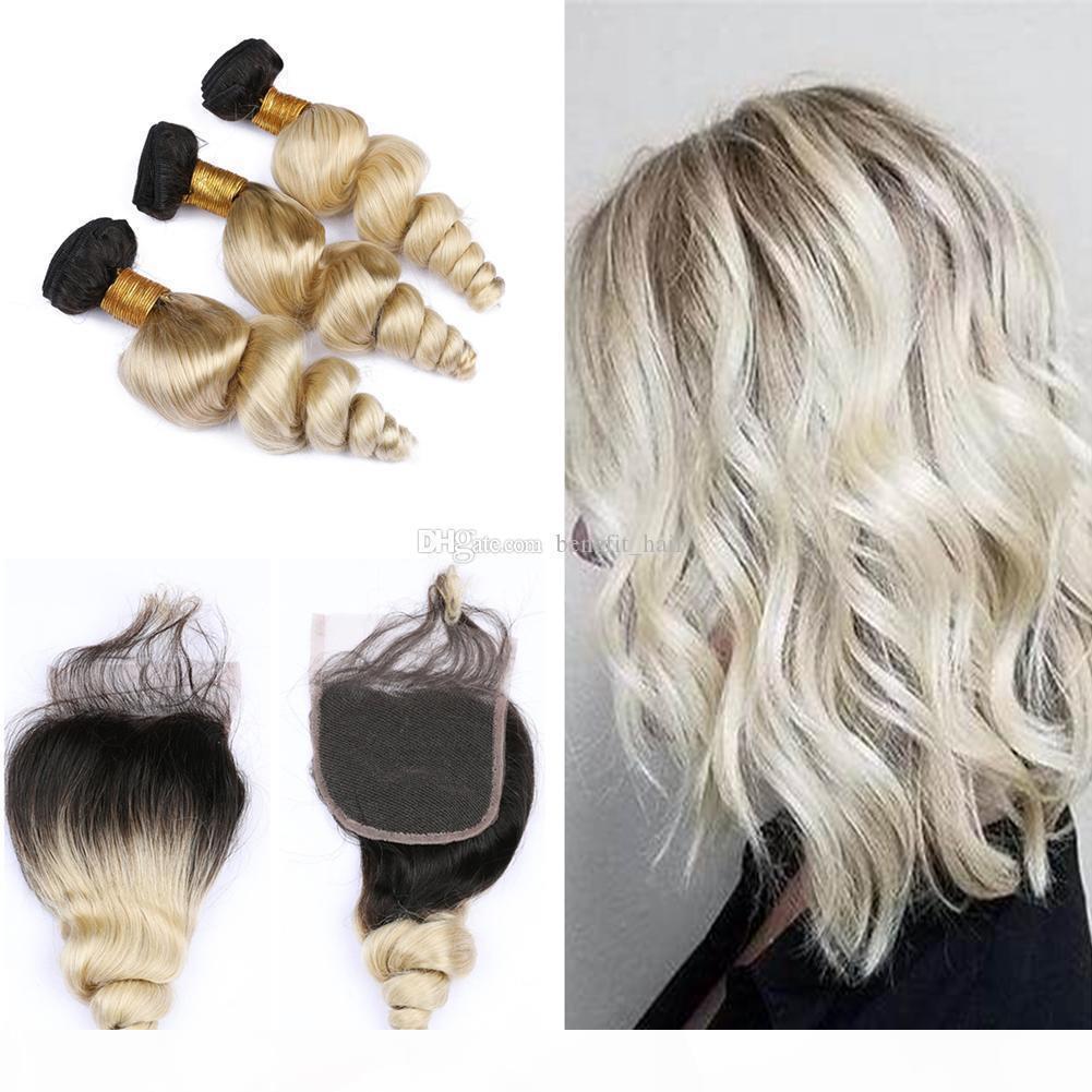 Темные корни 1b 613 Weaves с кружевной закрытием ombre блондин цвет 1b 613 два тонкомана с сыпучими волнами волос 3