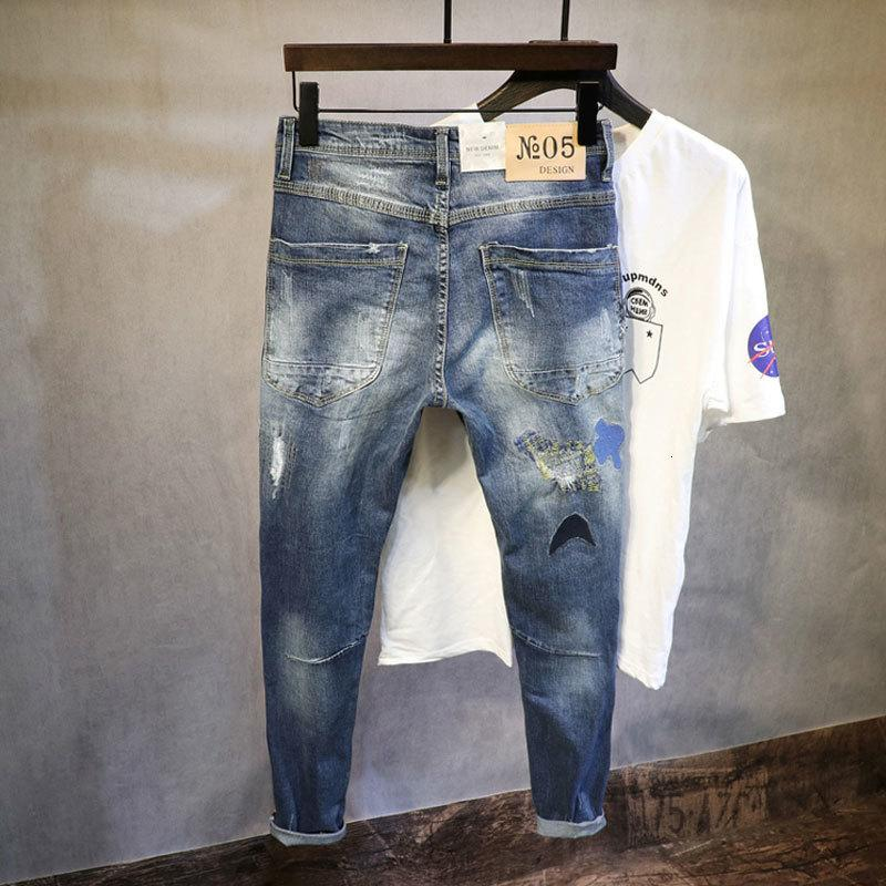 Moda Kore Tarzı Nakış Yama Tasarımcısı Yırtık Streç Kalem Pantolon Streetwear Elastik Hip Hop Jean 5CBY