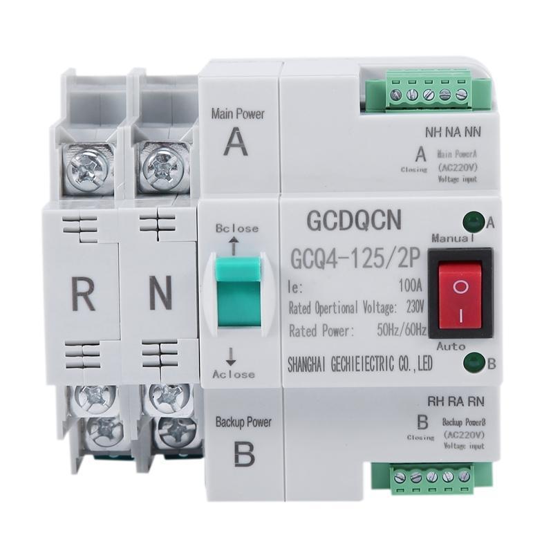 Smart Home Control Dual-Power-Automatikübertragungsschalter 2P 100A Haushalt 35-MM-Schieneninstallation