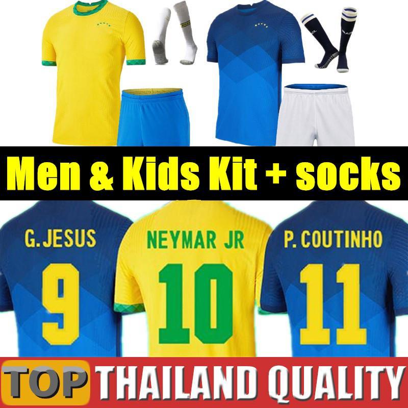 brazil Brasil maglie da calcio 2020 brasile set maglia da calcio COUTINHO FIRMINO GESÙ 2021 uomini donne kit per bambini uniformi