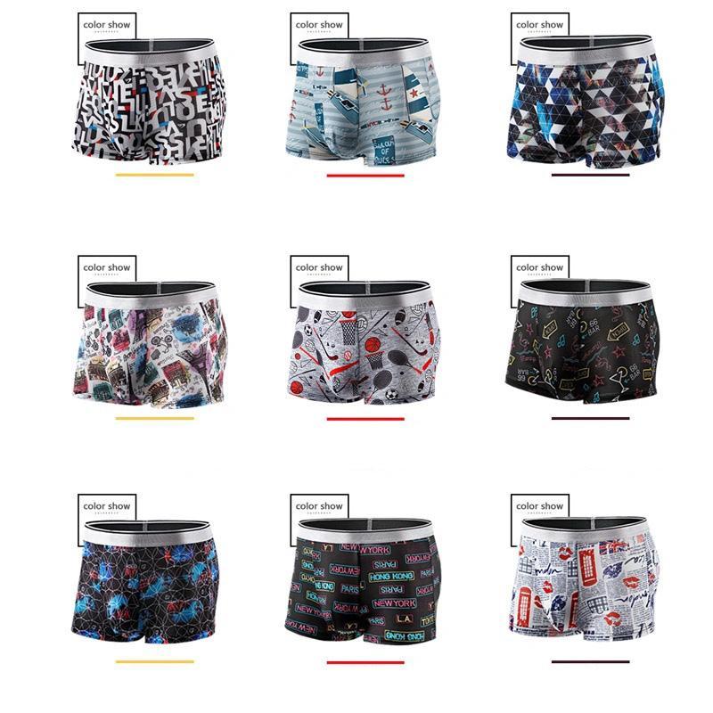 망 인쇄 팬티 남자 복서 underpants 남성 속옷 얼음 실크 남자 boxershorts 통기성 유연한 반바지 복서 3XL