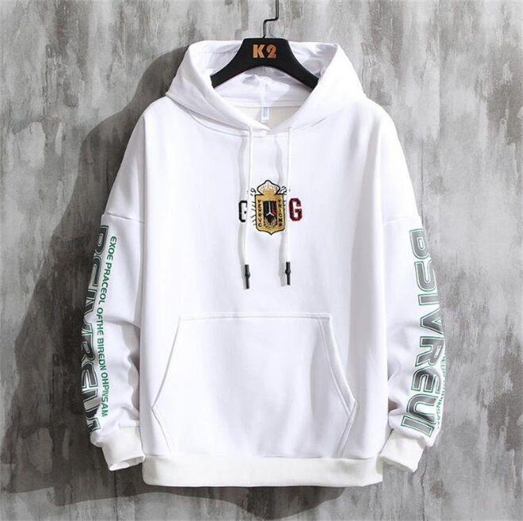 Весна 2020 Новая Корейский Trend Мода Вышивка Футболка с капюшоном Свитер с капюшоном Мужская Hoodie59LR