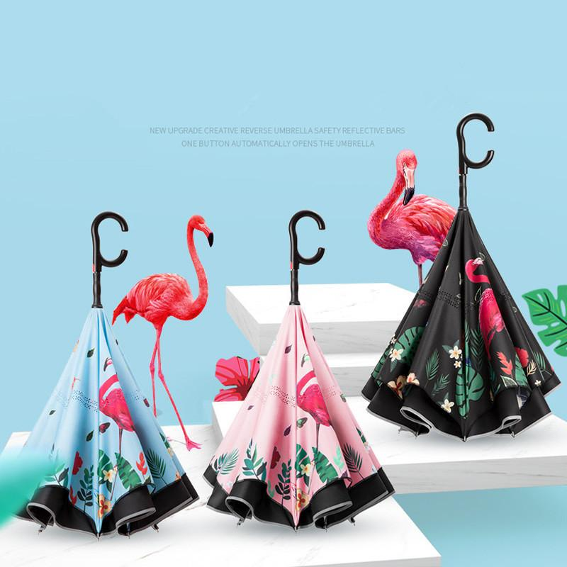 Flamingo Ters Şemsiye Güvenlik Reflektör Bar Çift Katlı Yarı-Otomatik Şemsiye Araçlar Için Balıkçılık Açık Yağmur Güneş Şemsiye 2021 Yeni