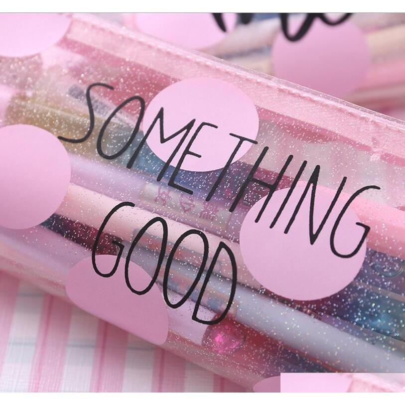 Cajas de lápiz de gato rosado para niñas Bolsa de pluma transparente linda de papelería Oficina de la oficina Schoo Jllmkp Sinabag
