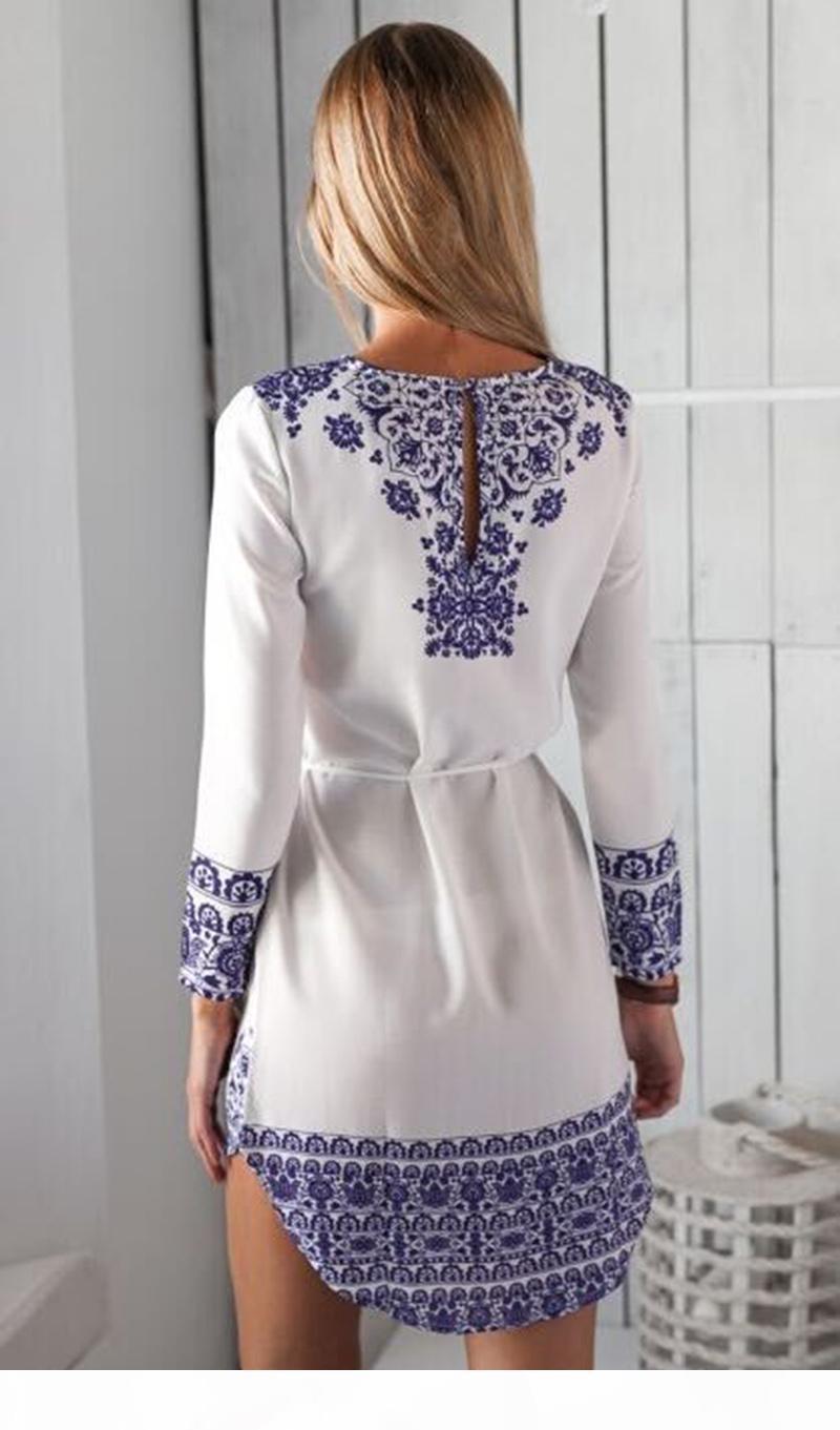Mode Druckkleider Frauen Casual Hemd Kleid Sommer Vintage Weiß Blau Porzellan Druck Langarm Strand Minikleid
