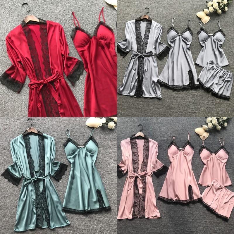 2020 النساء منامة مجموعات الحرير النوم الحرير 4 أجزاء نوم بيجامة السباغيتي حزام الدانتيل صالة النوم البيجامة مع منصات الصدر 126 x2