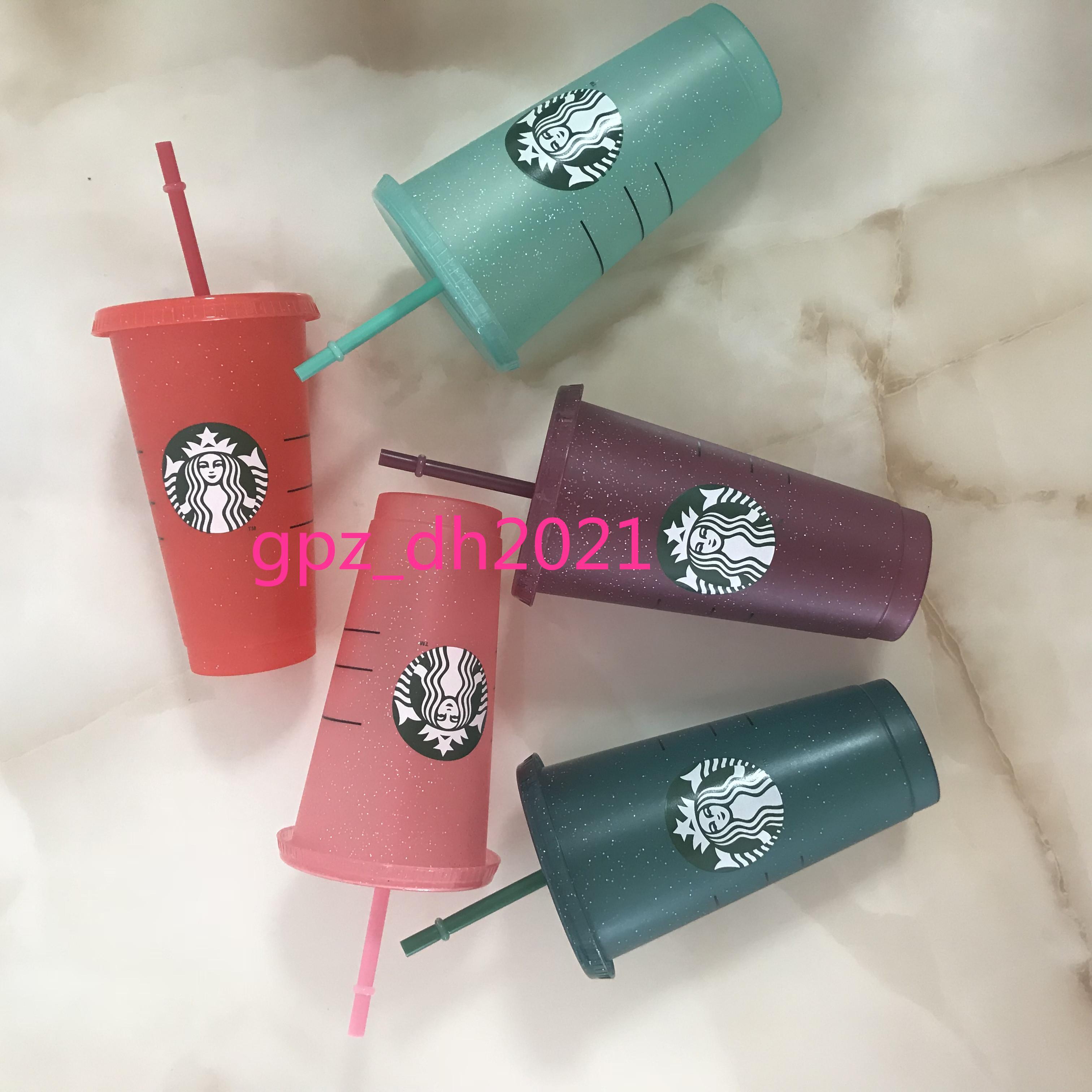 Starbucks Plastikbecher Flash Cup 24 Unzen / 710ml Transparente Farbe wechselnde Kunststoff Getränkesaft mit LiP Stroh Magie Kaffee Custom DHL Olnxb