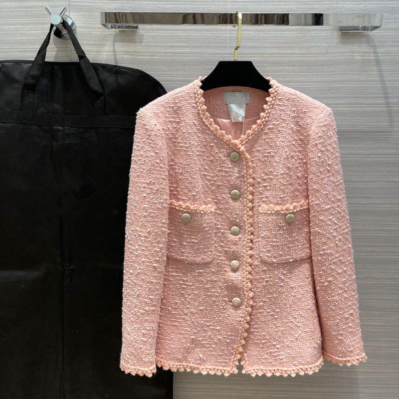 유럽 및 미국 여성 2021 겨울 새로운 컬렉션 긴 소매, 둥근 목, 단일 브레스트 유행 핑크 트위드 코트