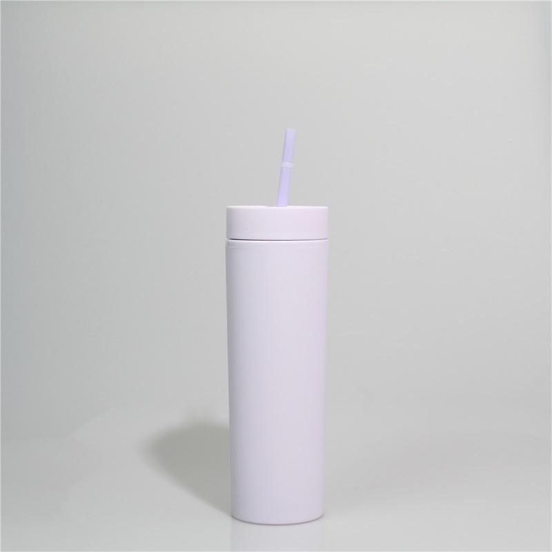 Tumblers acrílicos 16oz fosco colorido colorido tumblers acrílicos com tampas de parede dupla plástica de plástico Vinil DIY presentes 152 s2