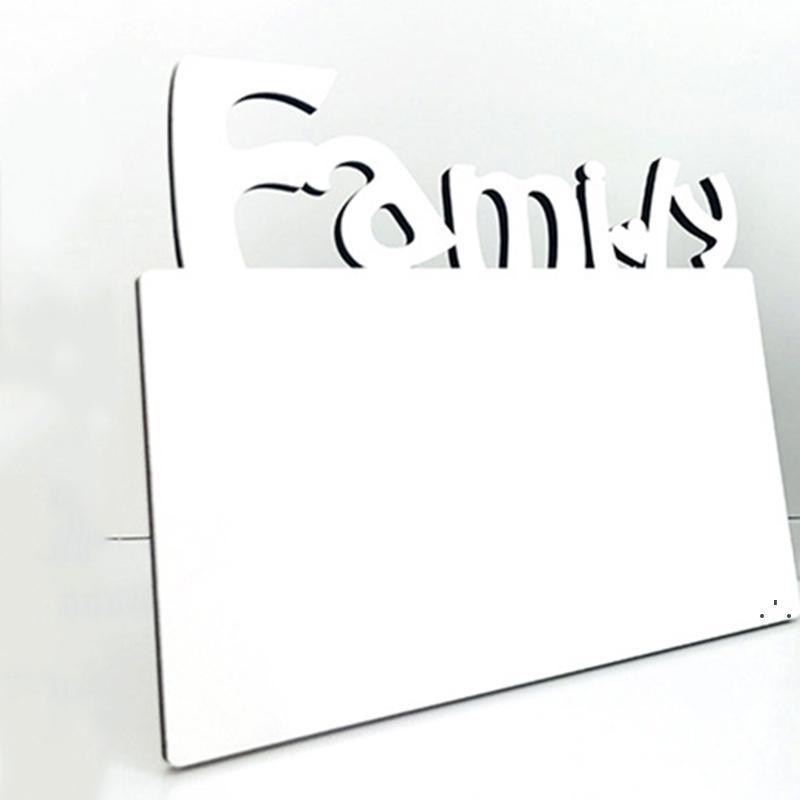 Sublimazione in legno Blank Photo Photo Frame Tre Dimensional Hollow Lettera Famiglia Photo Frame casa decorazione creativa ornamenti OWF5705