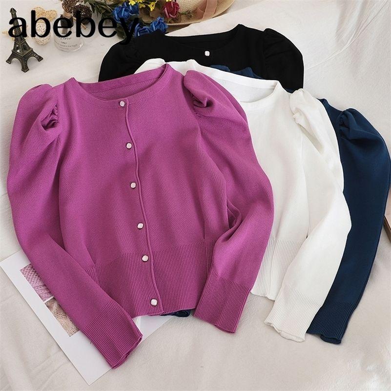 Nueva llegada elegante suéter mujeres color sólido solo pecho corto cárdigans coreano moda nueva ropa de punto tops 91149 lj201017