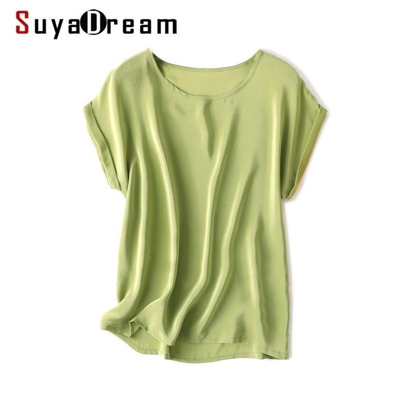 Camicia di seta estiva suyadream 100% Real Seta BAT SALUTE SOLD CANDY Colors O Neck T Shirt Nuova estate Top 210226