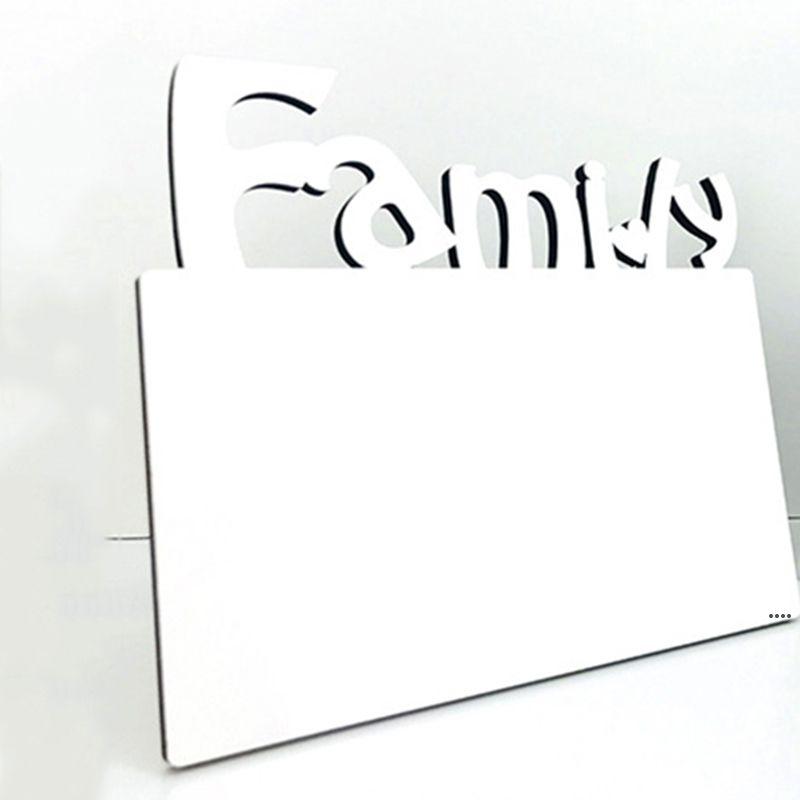 Sublimação de madeira moldura em branco tridimensional letra oca família foto moldura casa decoração criativa ornamentos hwf5705