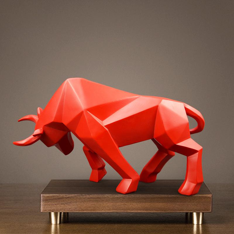 Resin Bull Statue Bison/Ox Sculpture Abstract figurine Home Decoration Modern/accessories nordic decoration home decor Statues 342 S2