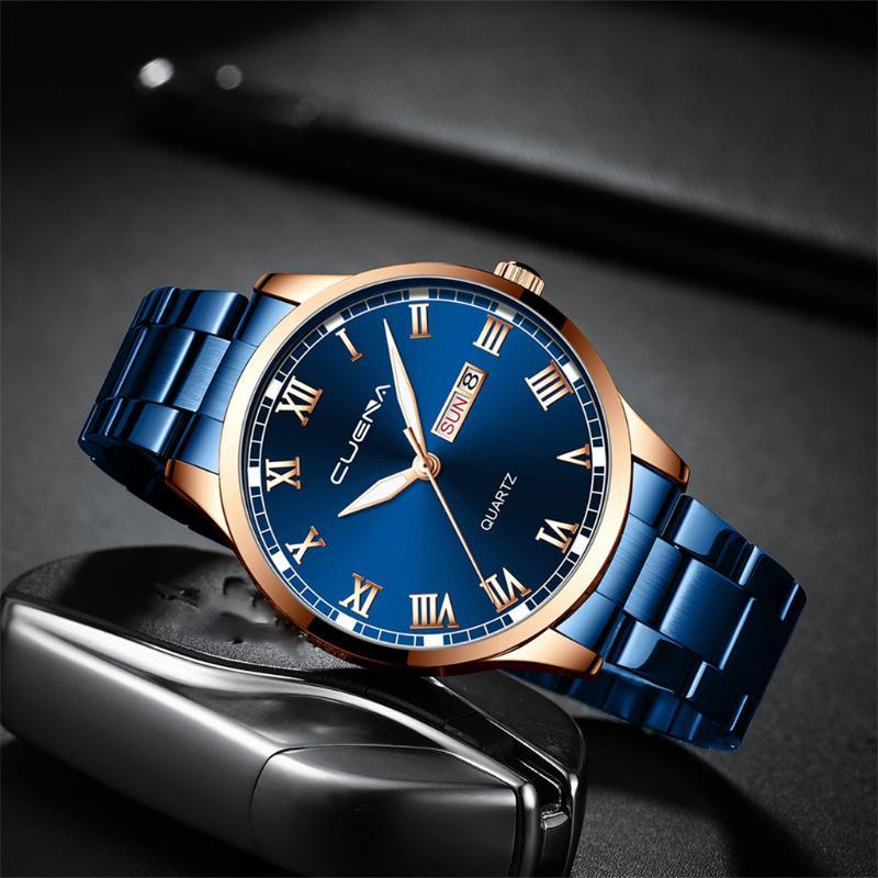 Armbanduhren Männer Uhren Business Kalender Edelstahl Quarz Armbanduhr Männliche Uhr Relogio Masculino Militär