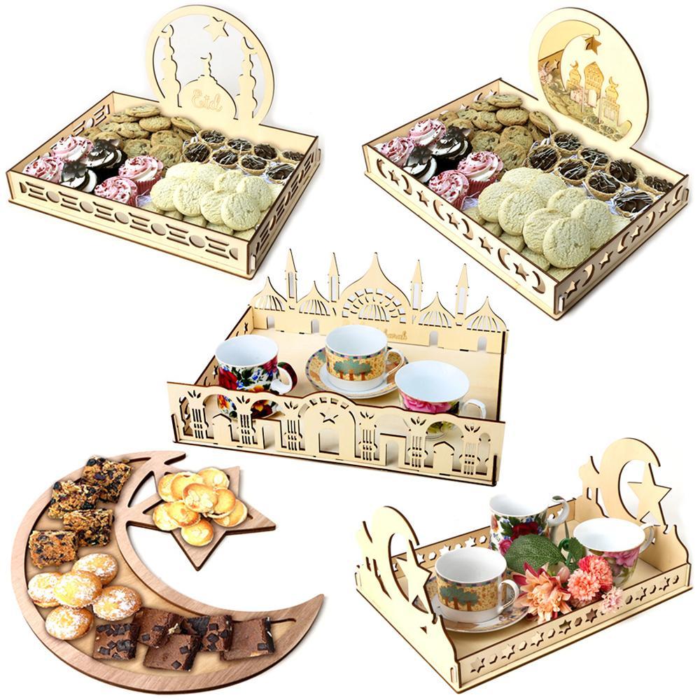 رمضان الديكور الخشبي الحلوى علبة عيد مبارك الغذاء المائدة عرض مكتب منظم lslamic ديكور مسلم jk2103xb