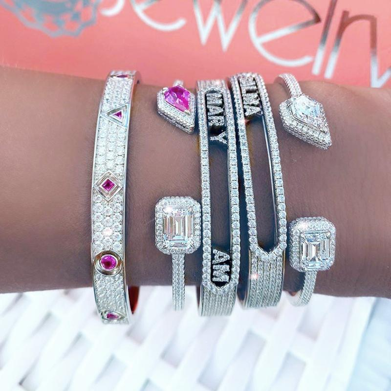 New Iced Out Bling 5A Cubic Zirconia CZ Mini Zircon 26 Initial DIY Name Letter Bangle Slider Alphabet Diy Bracelet Women Jewelry