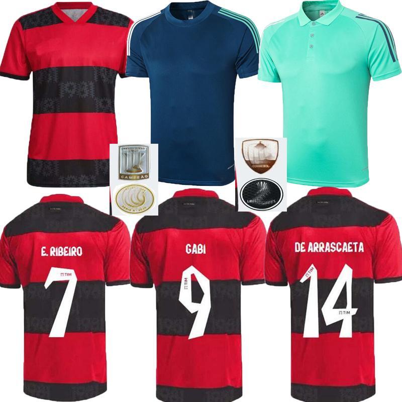 2021 2022 Flamengo Home Away Soccer Jerseys Flamenco Camisetas de Fútbol Gabriel B. Diego 21 22 Pedro Gerson Hommes Chemise Football Football