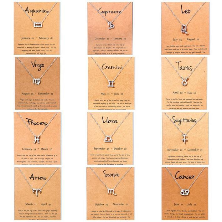 Fashion Silver 12 Constellation Necklaces Pendants For Women Horoscope Astrology Galaxy Zodiac Choker Necklaces Jewelry Birthday Gifts