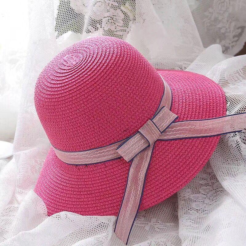 Chapéus de Brim Grande Palha de Verão Doce para Mulheres Femininas Viagens Viagem Bowknot Sun Chapéu Bohemian Sunscreen Anti-UV Caps