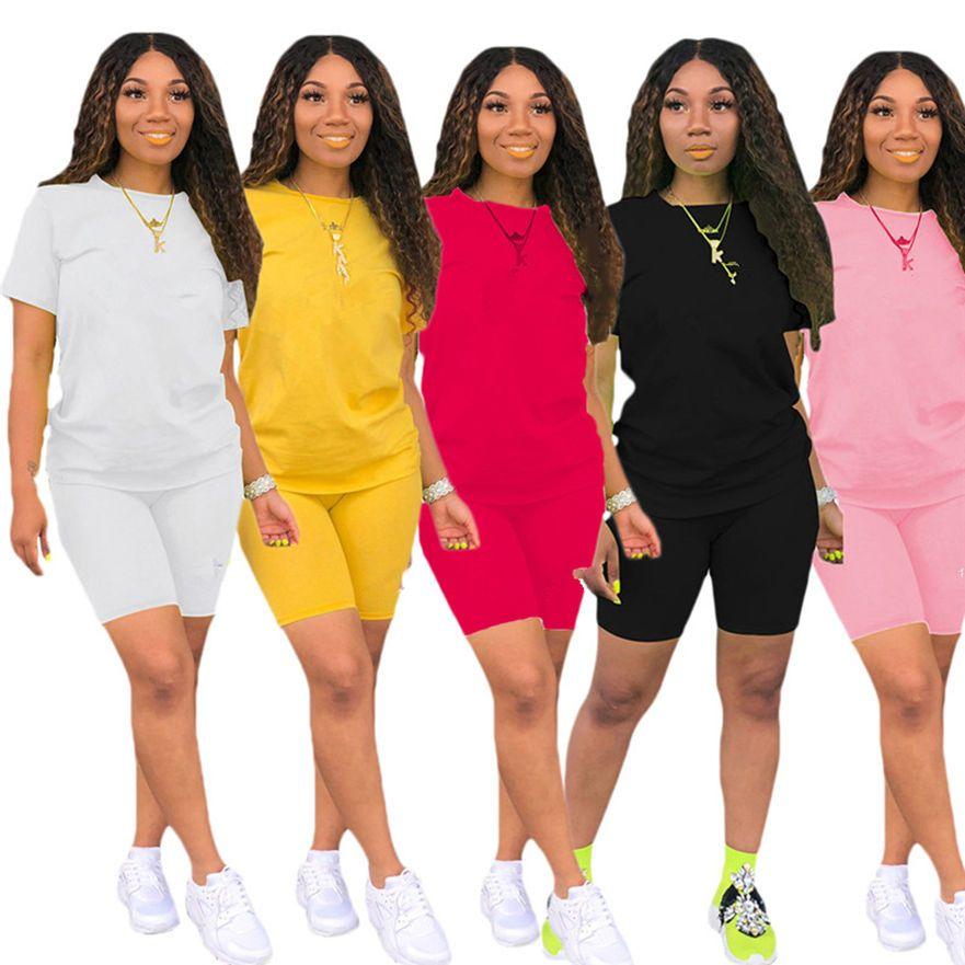 Women Summer Tracksuits Plus Size Outfits Short Sleeve Sweatsuits Letter Jogger Suit T-shirt+Shorts 2 Piece Sets Fashion Sportswear 3504