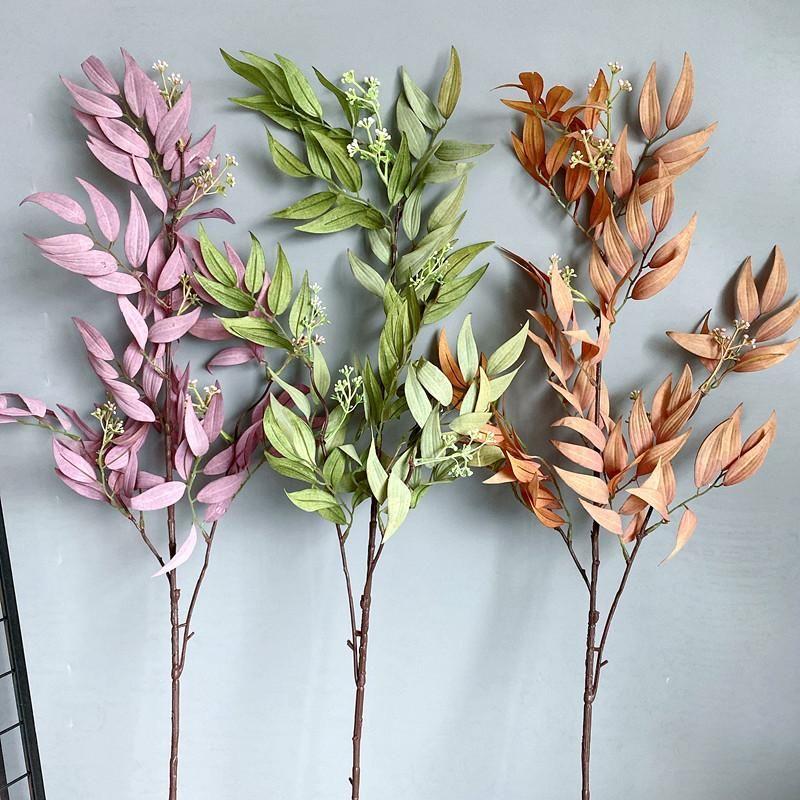 الزخرفية الزهور أكاليل عالية الجودة الصفصاف ليف الطويل فرع المائية النباتات الاصطناعية الزفاف ديكور المنزل plantas الاصطناعي