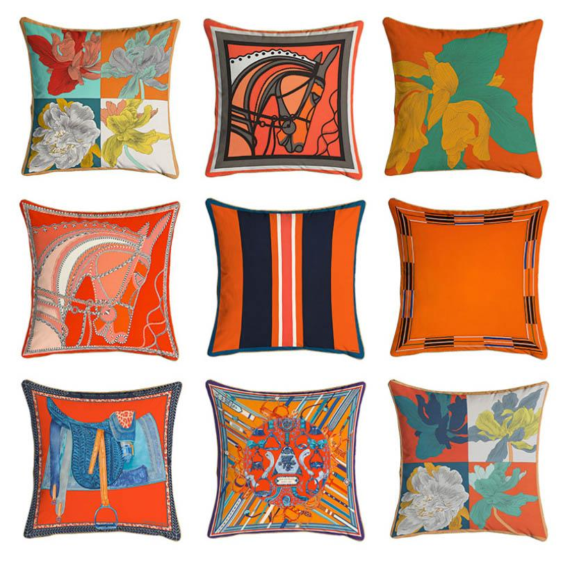 جديد 45 * 45 سنتيمتر البرتقال سلسلة وسادة يغطي الخيول الزهور طباعة وسادة القضية غطاء للكرسي كرسي أريكة الديكور سادات HH21-126